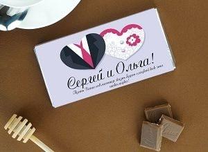 Именной шоколад на свадьбу, фото