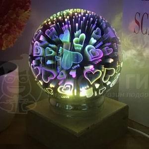 USB Ночник Магический шар Сердечки, фото
