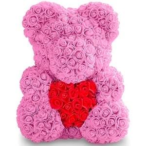 Мишка из роз с сердечком, фото
