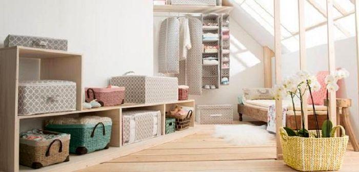 Открытый стелаж с текстильными коробами, фото