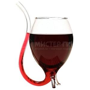 Винный бокал с трубочкой, фото